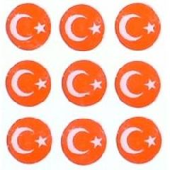 40 Tiny Circular Turkish Flag Stickers