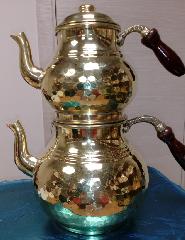 Чайник двойной под золото с деревянными ручками