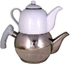 Турецкий чайник железный с фарфоровым заварником